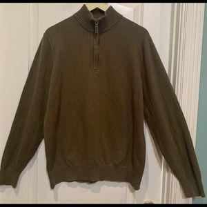 Eddie Bauer quarter length Zip Sweater Olive L